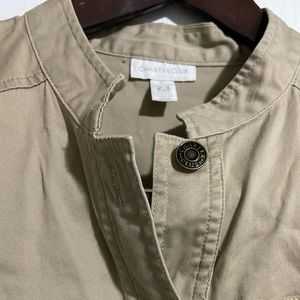 Charter club tan vest with zipper pre owned.